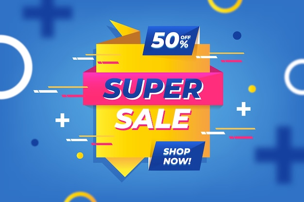 Super sale in origami style banner