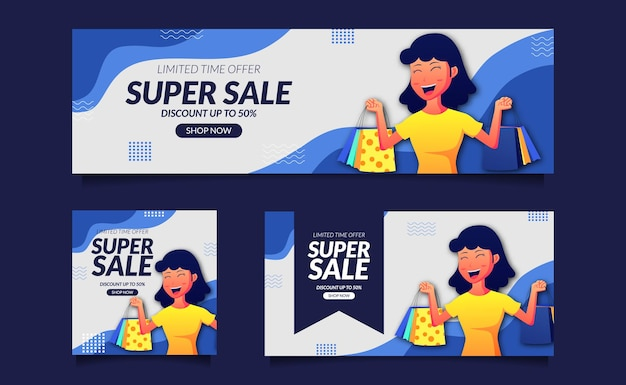 Super sale poster banner social media template with woman with shopping bag happy smile illustration concept