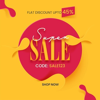 Super sale poster design with 45% discount offer on red and yellow background.