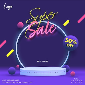 Super sale poster design with 50% discount offer on purple background