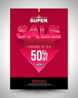 Super sale poster discount up to 50 percent with arrow