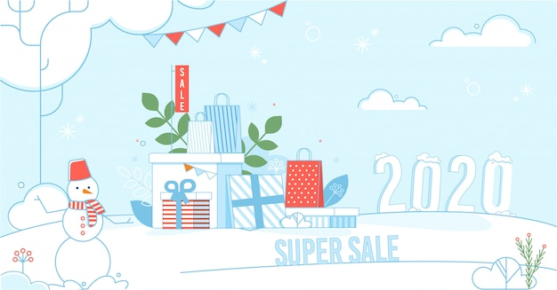 Super sale poster with winter and holidays design