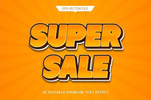 Super sale promotion 3d editable text style effect premium vector