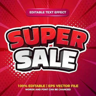 Супер распродажа распродажа 3d мультфильм комикс редактируемый текстовый эффект шаблон стиля