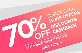 Super sale simple discount banner design template