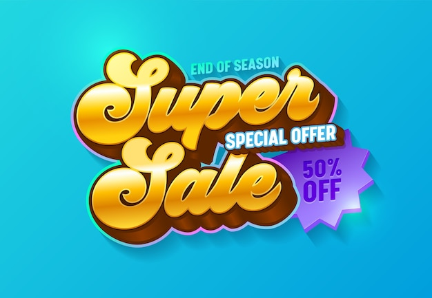 Super sale special offer 3d golden typography banner