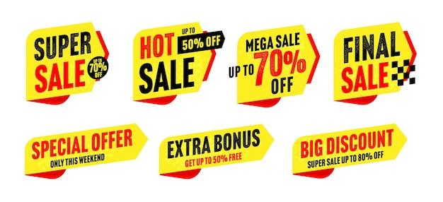슈퍼 판매 스티커, 뜨거운 가격표, 큰 할인 배지 세트. 흰색 배경에서 격리된 주말 벡터 일러스트레이션에서만 최대 50, 70 또는 80% 할인된 추가 보너스 및 특별 제공