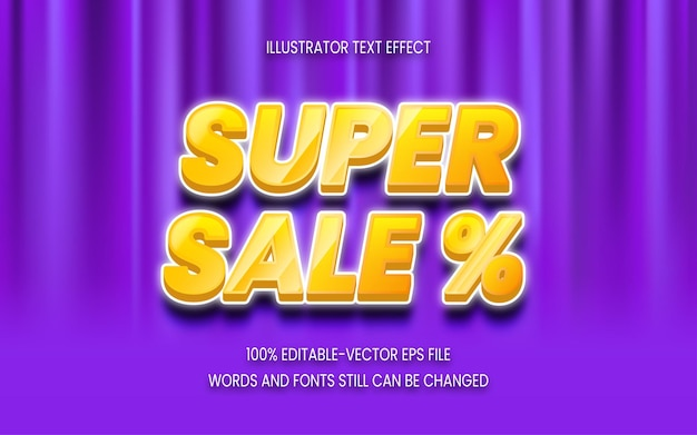 Super sale text effect on background curtain