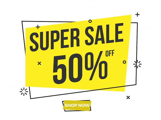 Super sale text on yellow banner