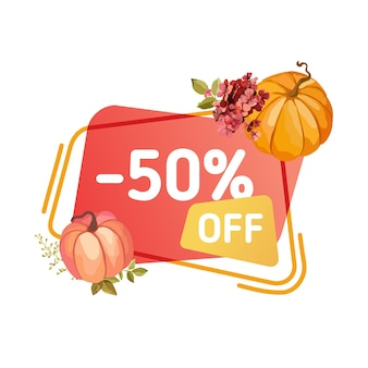 슈퍼 판매 추수 감사절 배너입니다. 웹 디자인 및 할인 프로모션을 위한 가을 특별 제공 배지. 호박, 가을 꽃, 벡터 일러스트 레이 션 화이트 절연 벡터 계절 광고