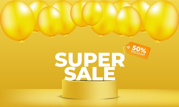 Super sale with yellow balloon vector