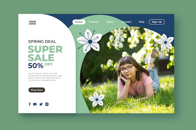 Super sales and girl in park landing page