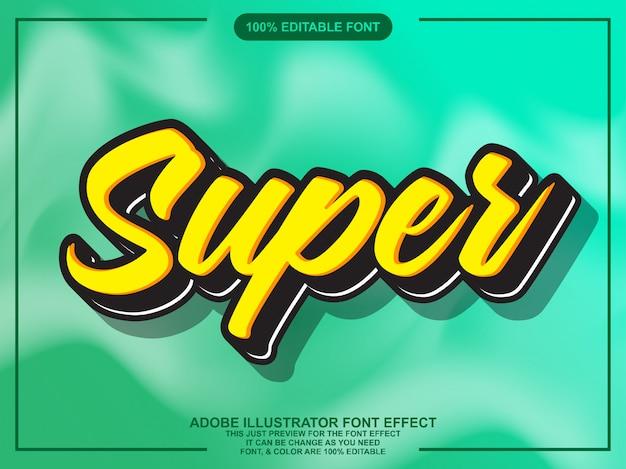 Super script editable typography font effect