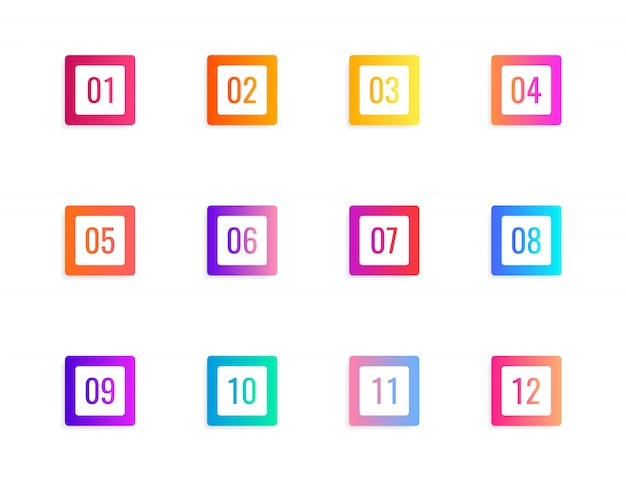 Super set arrow bullet point triangle flags on white background. colorful gradient markers with number from 1 to 12.