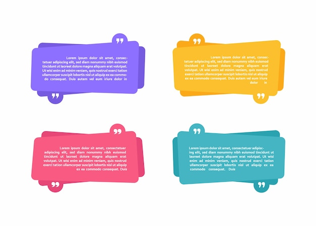 スーパーセットの異なる形状の幾何学的なテキストボックス。引用とテキストの色の抽象的な形。モダンなイラスト。