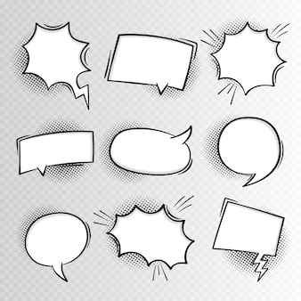 Super set hand drawn blank comic speech bubbles background in retro style.