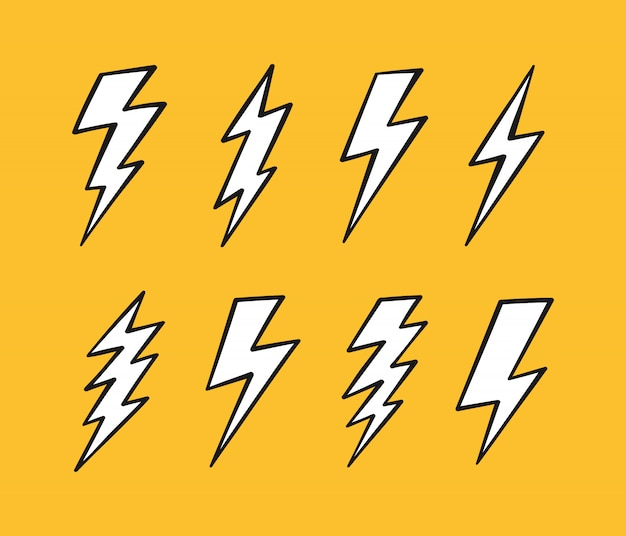 Super set hand drawn lightning bolt