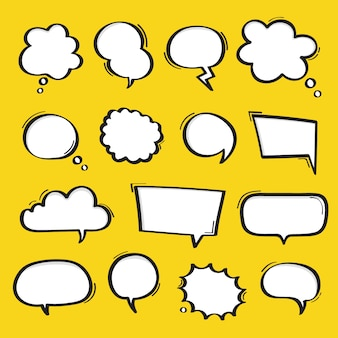 Super set hand drawn speech bubbles isolated on yellow background.