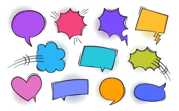 Super set retro colorful comic book text speech bubble in pop art style with halftone and lightning bolts. talk chat retro speak message. empty white blank comment
