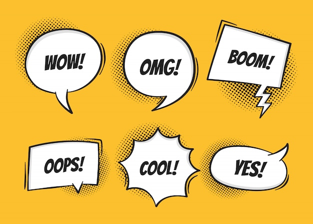 Super set retro colorful comic speech bubbles with halftone shadows on yellow background