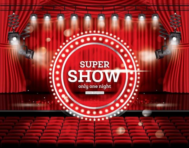 スーパーショー。スポットライトで赤いカーテンを開きます。ベクトルイラスト。劇場、オペラ、映画館のシーン