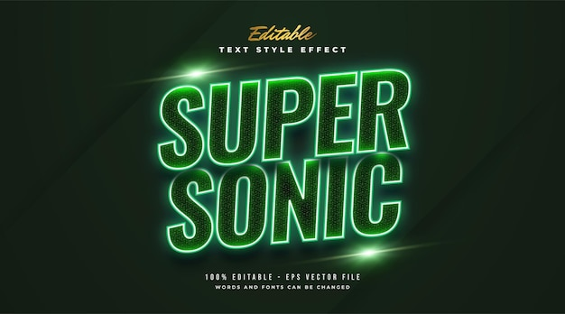 Super sonic text style with glowing green neon effect