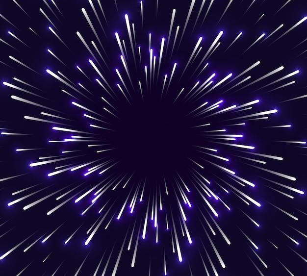 超高速の背景ぼやけた星が線で光る
