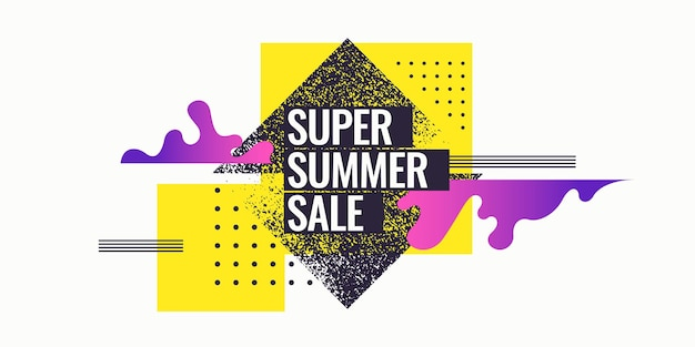 Super summer sale. abstract background with geometric shapes. vector illustration