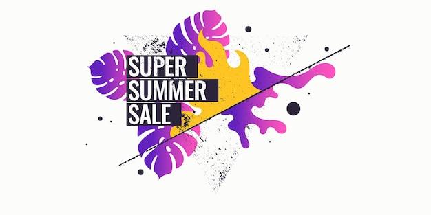 Супер летняя распродажа. абстрактный фон с пальмовым листом и геометрическими фигурами. векторная иллюстрация