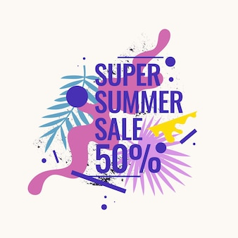 Super summer sale abstract background with palm leave and geometric shapes