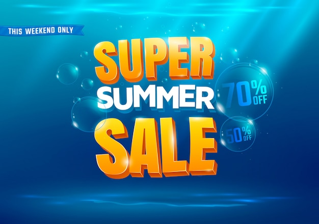 Super summer sale background with sea illustration.