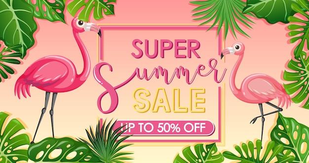 Banner super summer sale con fenicottero e foglie tropicali tropical