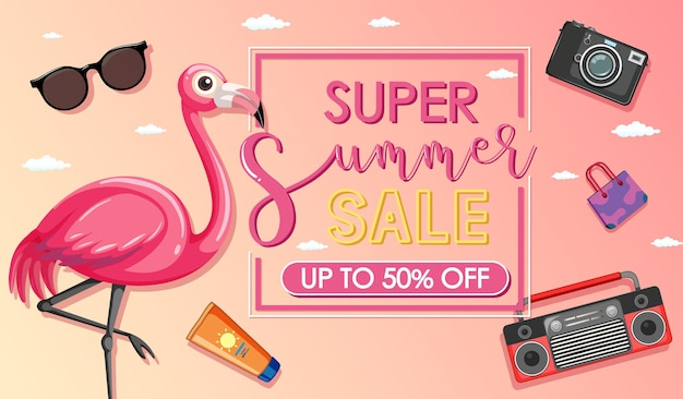 Super summer sale banner with a flamingo