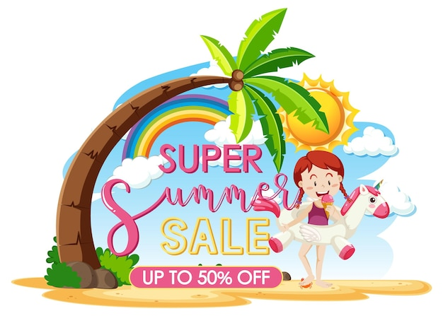 Super summer sale banner with a girl isolated