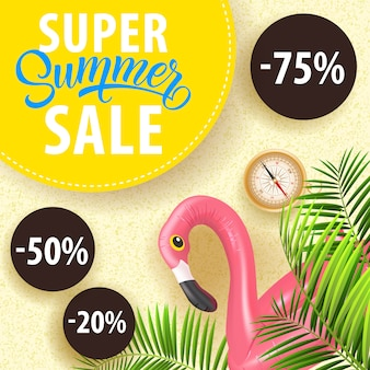Super summer sale coupon with tropical leaves, flamingo swim tube, compass
