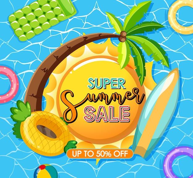 Super summer sale logo on pool background