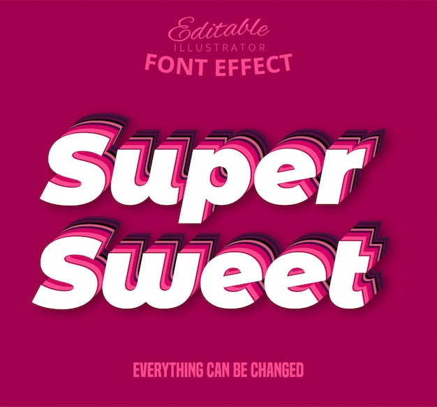 Super sweet text, editable text effect