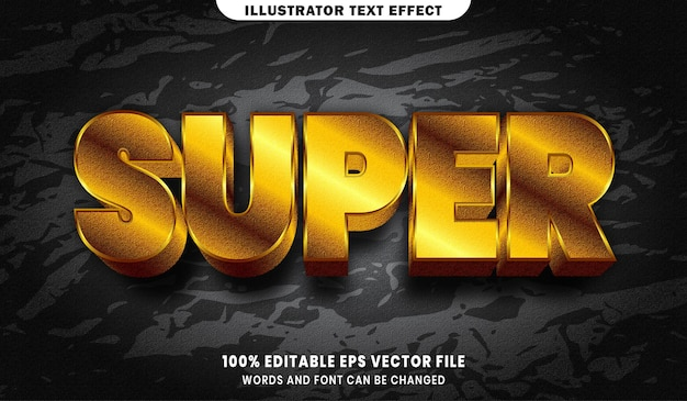 Super text, font gold style editable text effect