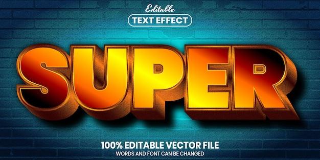 スーパーテキスト、フォントスタイルの編集可能なテキスト効果