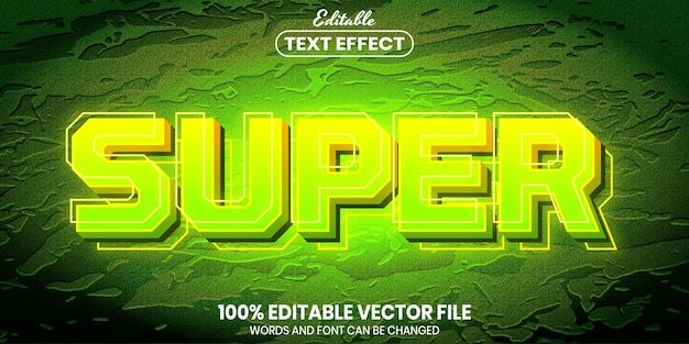 Супертекст, редактируемый текстовый эффект в стиле шрифта