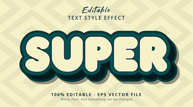 Super text on modern vintage color style, editable text effect