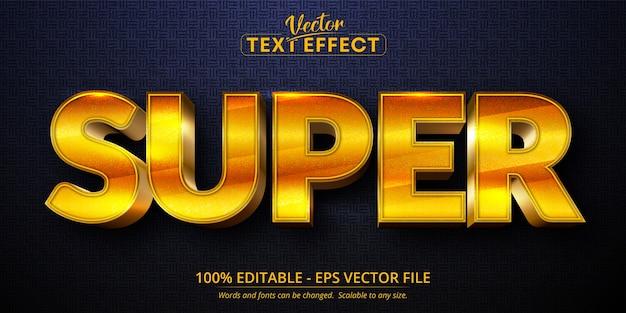 슈퍼 텍스트, 반짝이는 황금 스타일 편집 가능한 텍스트 효과