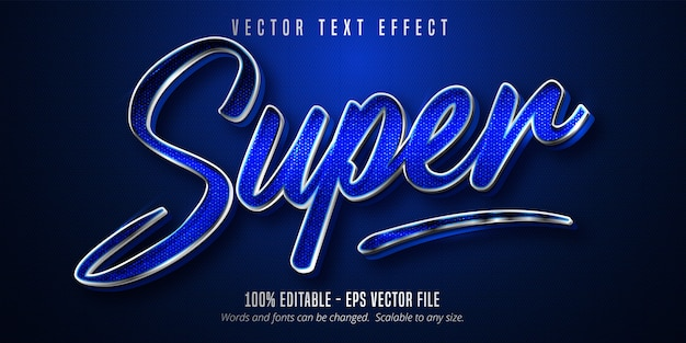 Super text, silver style editable text effect on blue canvas background