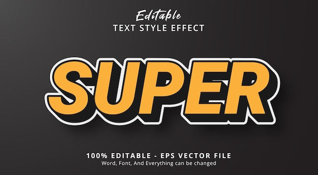 Супер-текст с эффектом стиля шумихи, редактируемый текстовый эффект