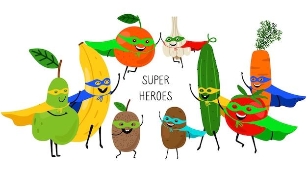 Super vegetables fruits. superheroes with smiles and masks, carrot tomato banana orange pear isolated on white