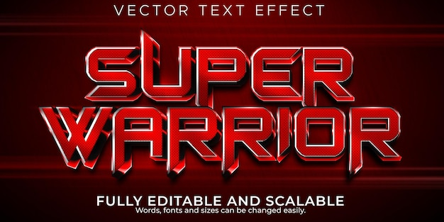 Super warrior text effect editable red and metallic text style