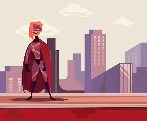 屋根の上に立っているスーパー女性ヒーローキャラクターフラット漫画イラスト