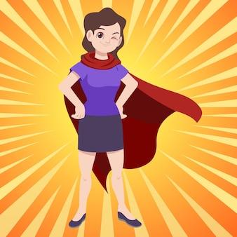 Super woman, super mom standing in red cape