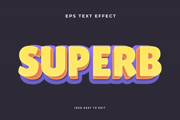 Superb yellow purple text effect
