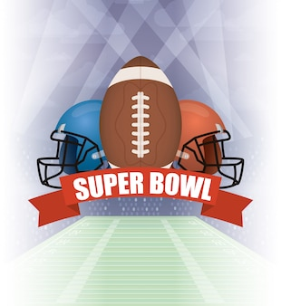 Superbowl sport illustration with helmets and balloon